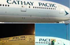 A Cathay Pacific Boeing 777-367 appears to have been decorated with a rather embarrassing typo.